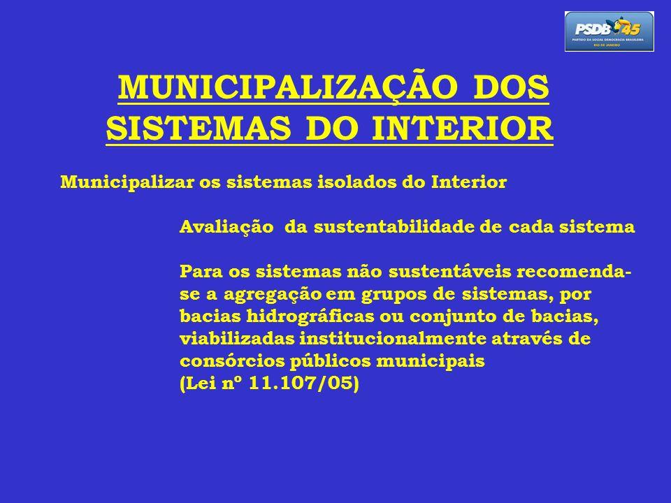 MUNICIPALIZAÇÃO DOS SISTEMAS DO INTERIOR Municipalizar os sistemas isolados do Interior Avaliação da sustentabilidade de cada sistema Para os sistemas