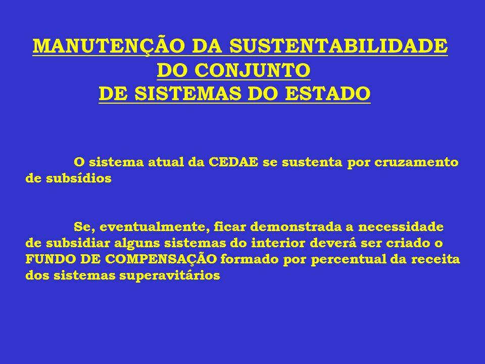 MANUTENÇÃO DA SUSTENTABILIDADE D O CONJUNTO DE SISTEMAS DO ESTADO O sistema atual da CEDAE se sustenta por cruzamento de subsídios Se, eventualmente,