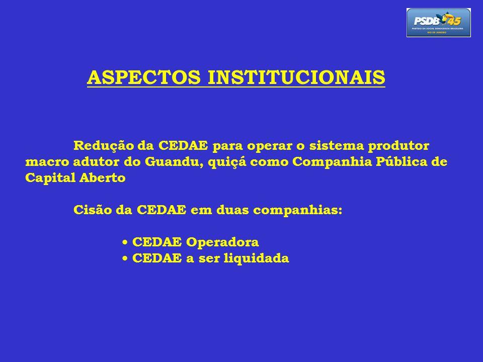 ASPECTOS INSTITUCIONAIS Redução da CEDAE para operar o sistema produtor macro adutor do Guandu, quiçá como Companhia Pública de Capital Aberto Cisão d