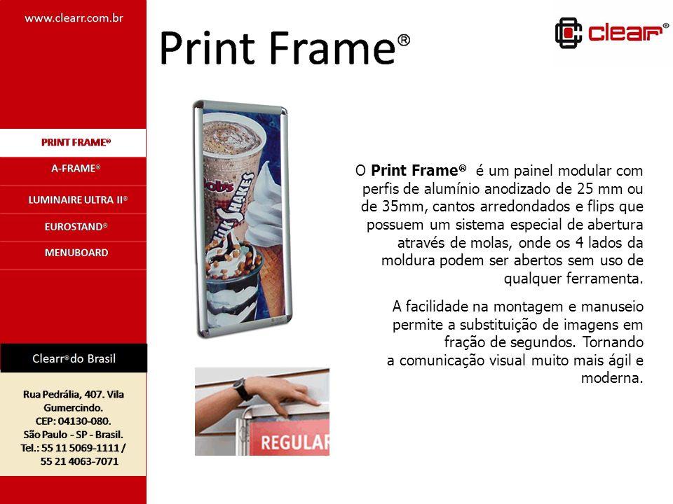 O Print Frame é um painel modular com perfis de alumínio anodizado de 25 mm ou de 35mm, cantos arredondados e flips que possuem um sistema especial de
