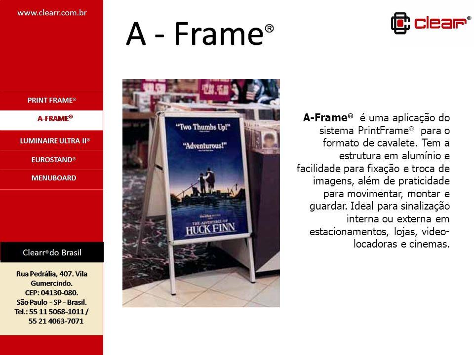 A-Frame é uma aplicação do sistema PrintFrame para o formato de cavalete. Tem a estrutura em alumínio e facilidade para fixação e troca de imagens, al