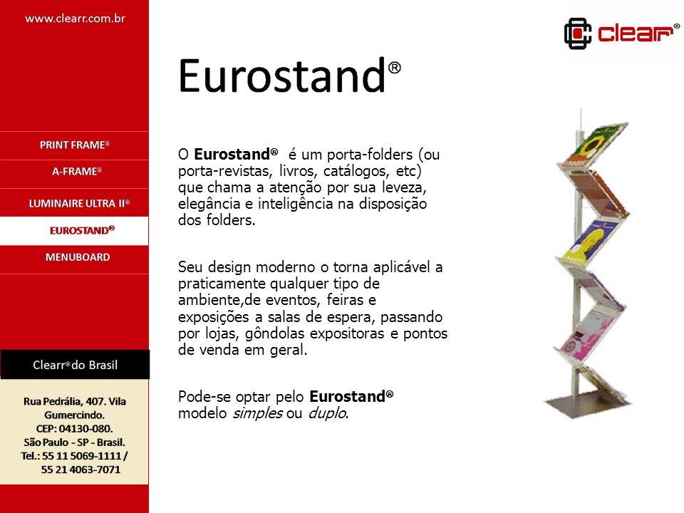 O Eurostand é um porta-folders (ou porta-revistas, livros, catálogos, etc) que chama a atenção por sua leveza, elegância e inteligência na disposição