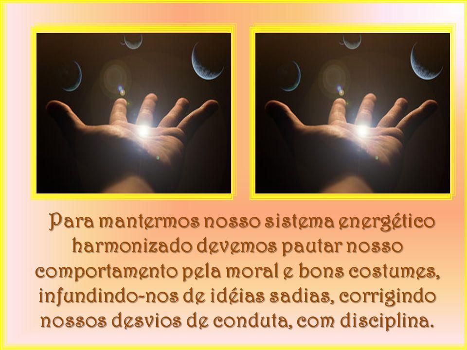 d) captando energia, utilizando a mente, através da força de vontade concentrada, diretamente do reservatório da natureza; e) através do passe ou solicitando o auxílio dos bons Espíritos; f) leituras e músicas elevadas; g) através da prece.