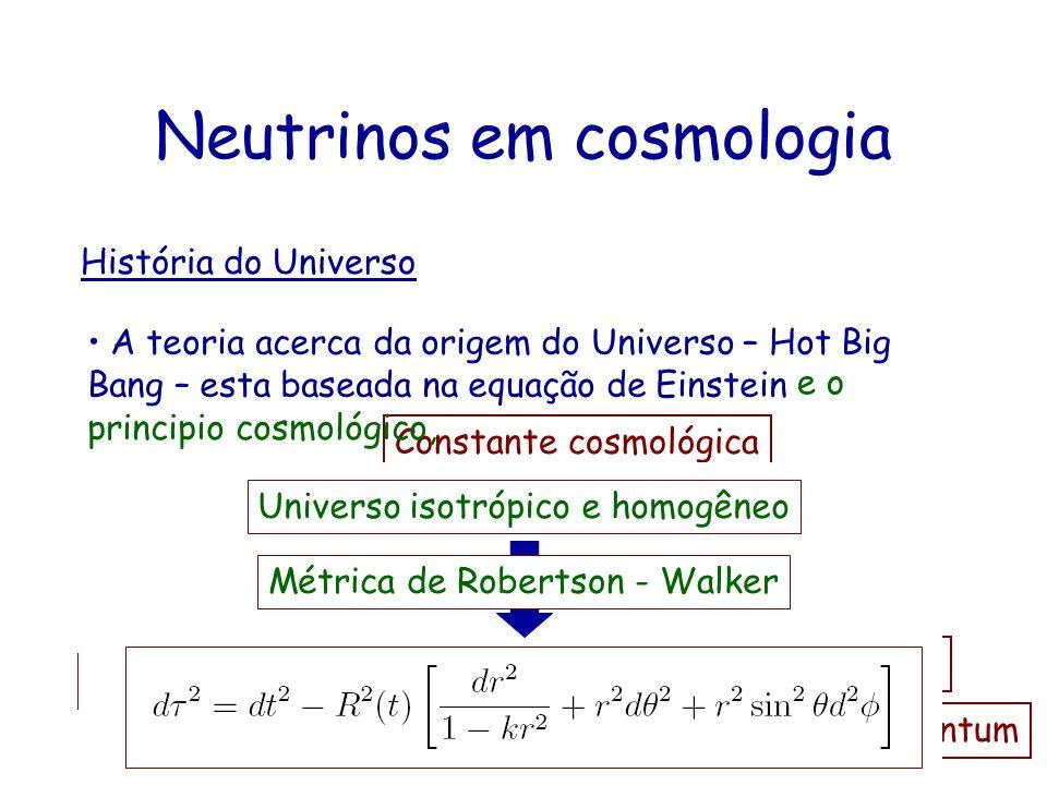 Neutrinos em cosmologia História do Universo A teoria acerca da origem do Universo – Hot Big Bang – esta baseada na equação de Einstein Tensor de Ricc
