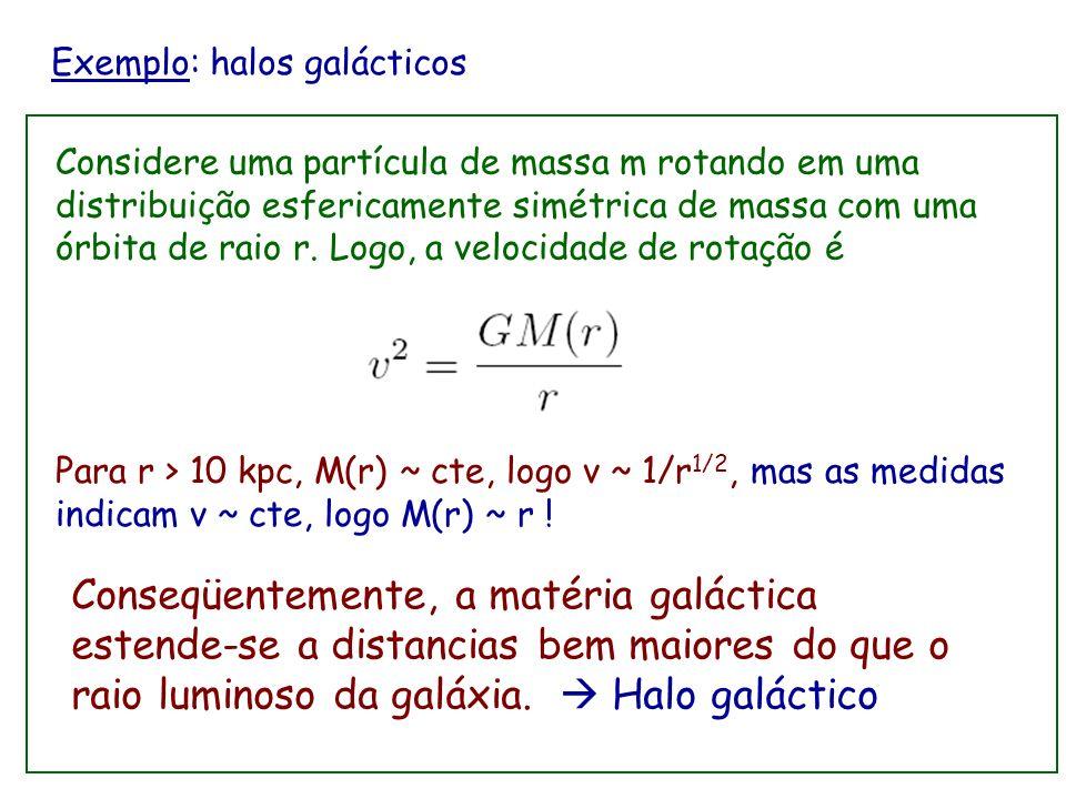 Exemplo: halos galácticos Galáxias são formadas por estrelas se movimentando pela atração gravitatória mutua. Estão compostas por uma região central b