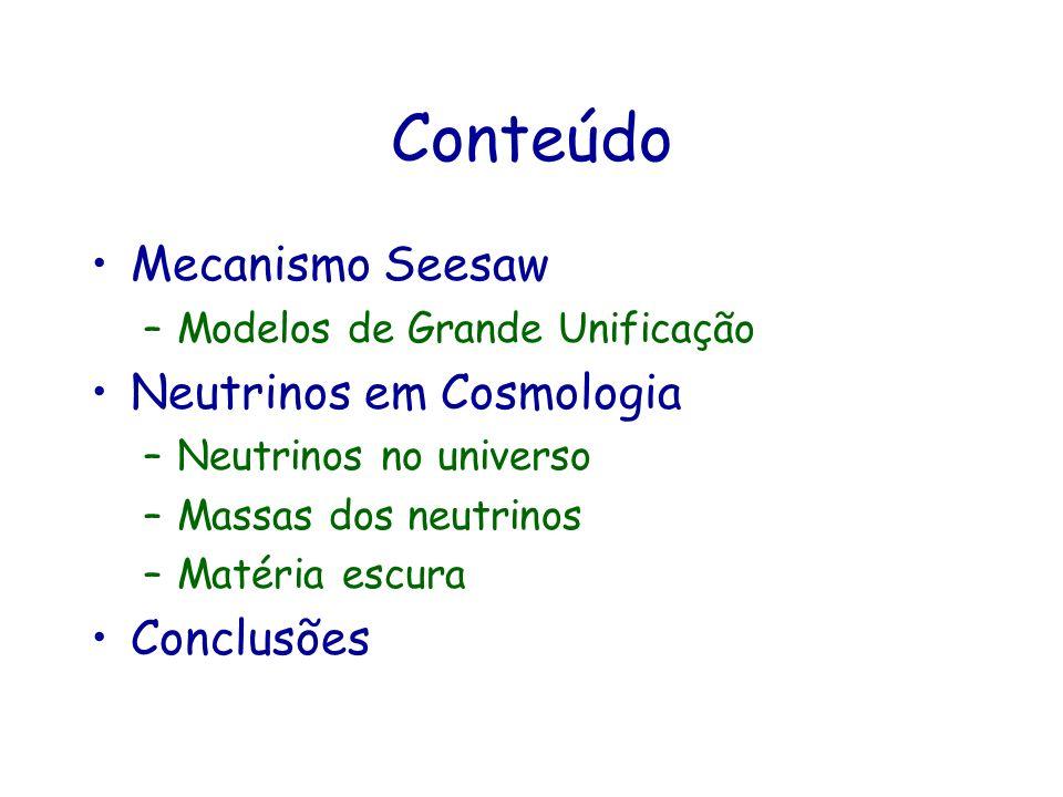 Conteúdo Mecanismo Seesaw –Modelos de Grande Unificação Neutrinos em Cosmologia –Neutrinos no universo –Massas dos neutrinos –Matéria escura Conclusõe