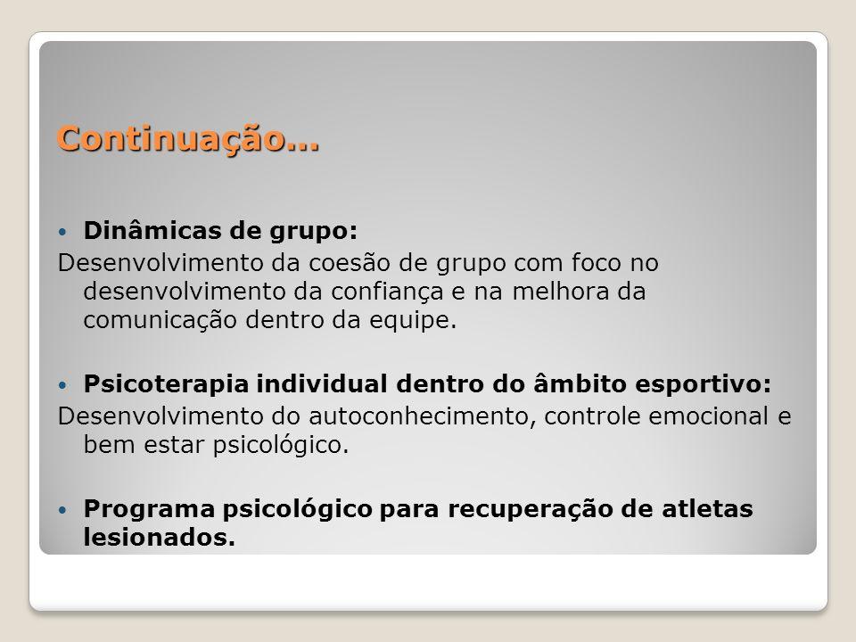 Continuação... Dinâmicas de grupo: Desenvolvimento da coesão de grupo com foco no desenvolvimento da confiança e na melhora da comunicação dentro da e