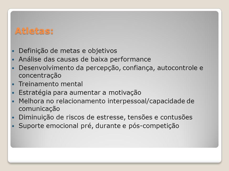 Atletas: Definição de metas e objetivos Análise das causas de baixa performance Desenvolvimento da percepção, confiança, autocontrole e concentração T