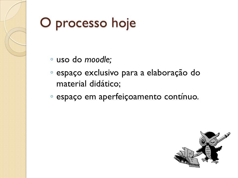 O processo hoje uso do moodle; espaço exclusivo para a elaboração do material didático; espaço em aperfeiçoamento contínuo.