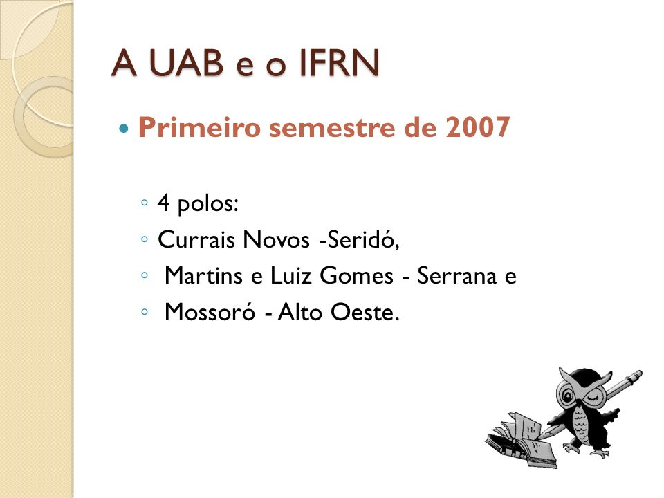 A UAB e o IFRN Primeiro semestre de 2007 4 polos: Currais Novos -Seridó, Martins e Luiz Gomes - Serrana e Mossoró - Alto Oeste.