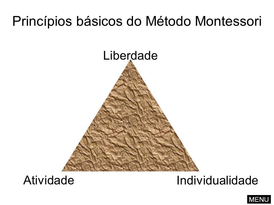 Princípios básicos do Método Montessori Liberdade Atividade Individualidade MENU