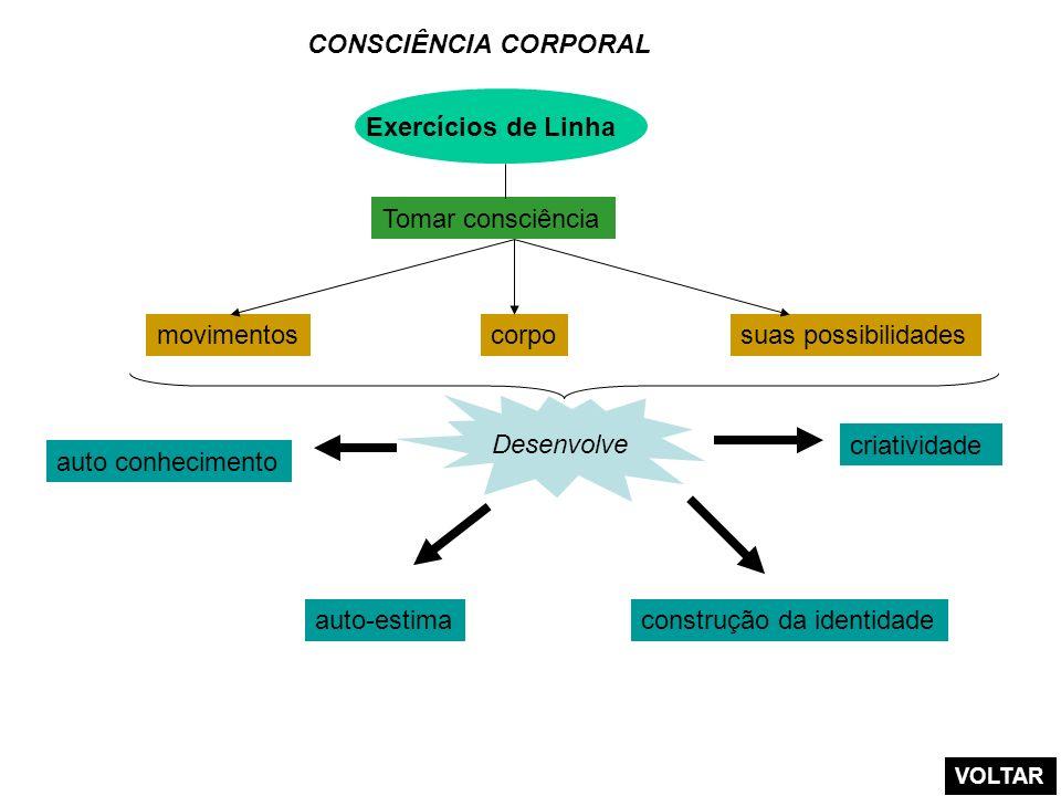 Exercícios de Linha CONSCIÊNCIA CORPORAL movimentoscorposuas possibilidades Tomar consciência criatividade auto conhecimento Desenvolve auto-estimacon