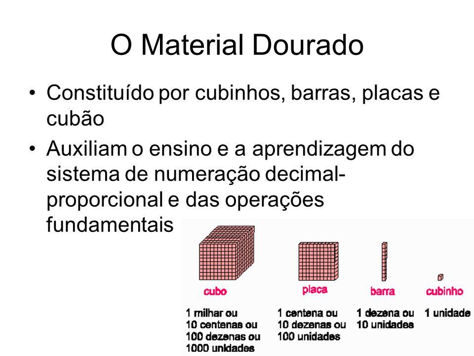 O Material Dourado Constituído por cubinhos, barras, placas e cubão Auxiliam o ensino e a aprendizagem do sistema de numeração decimal- proporcional e