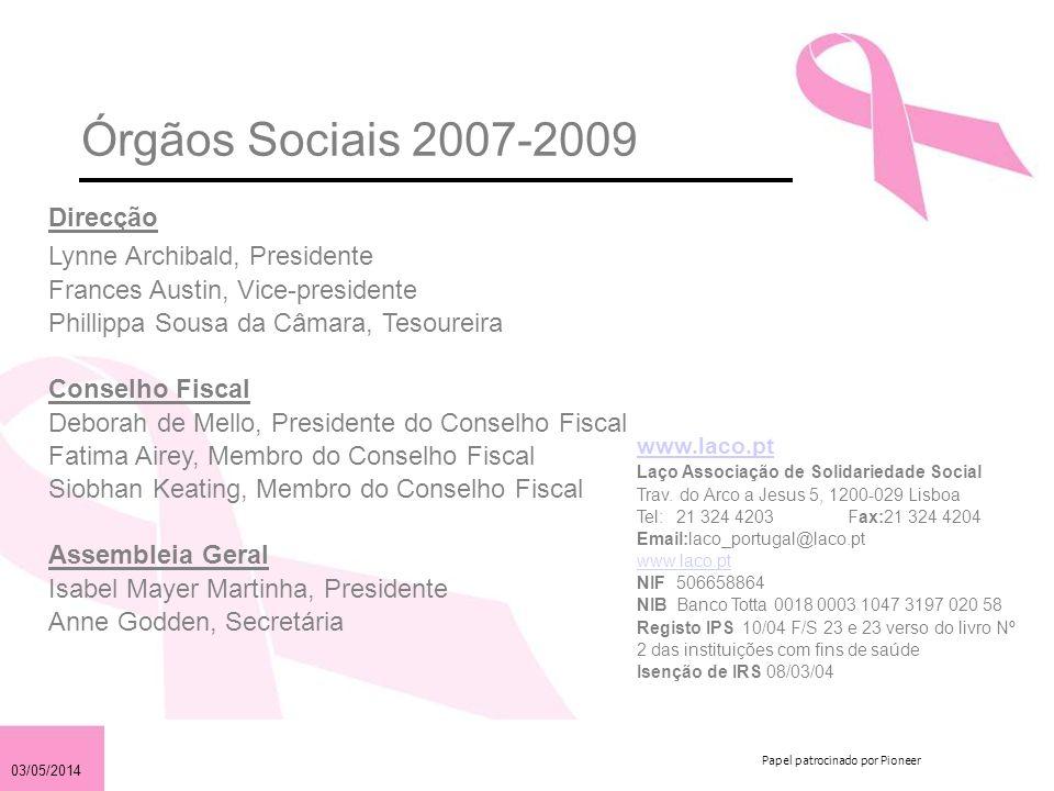 03/05/2014 Papel patrocinado por Pioneer Órgãos Sociais 2007-2009 www.laco.pt Laço Associação de Solidariedade Social Trav. do Arco a Jesus 5, 1200-02