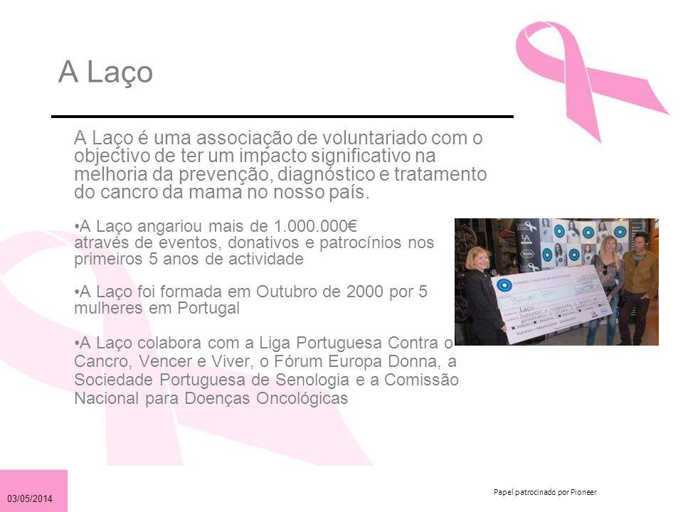 03/05/2014 Papel patrocinado por Pioneer O Cancro da Mama em Portugal 1 em cada 12 mulheres em Portugal irá ter cancro da mama.