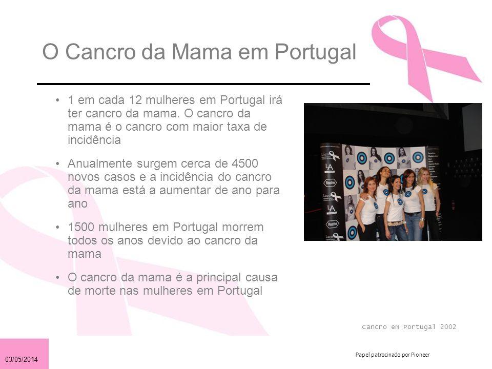 03/05/2014 Papel patrocinado por Pioneer O Cancro da Mama em Portugal 1 em cada 12 mulheres em Portugal irá ter cancro da mama. O cancro da mama é o c