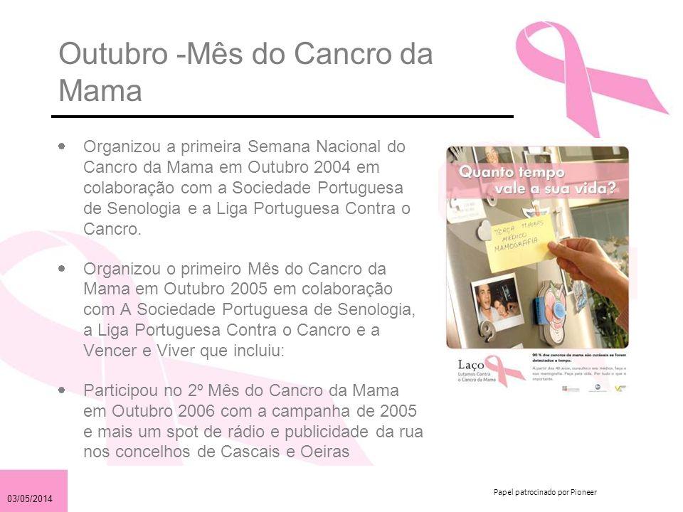 03/05/2014 Papel patrocinado por Pioneer Objectivos 2007 Angariar 350,000 para apoiar projectos inovadores na luta contra o cancro da mama em Portugal Informar a comunidade sobre a necessidade: –de prevenção –de se obter um diagnóstico precoce –de receber o tratamento adequado para o seu cancro da mama