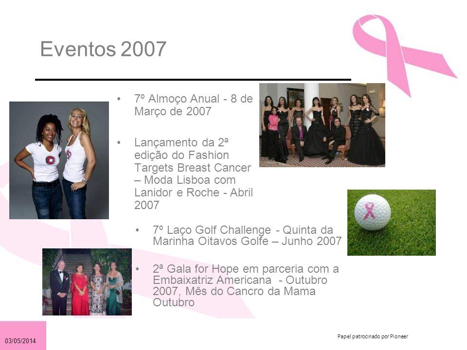 03/05/2014 Papel patrocinado por Pioneer Eventos 2007 7º Almoço Anual - 8 de Março de 2007 Lançamento da 2ª edição do Fashion Targets Breast Cancer –