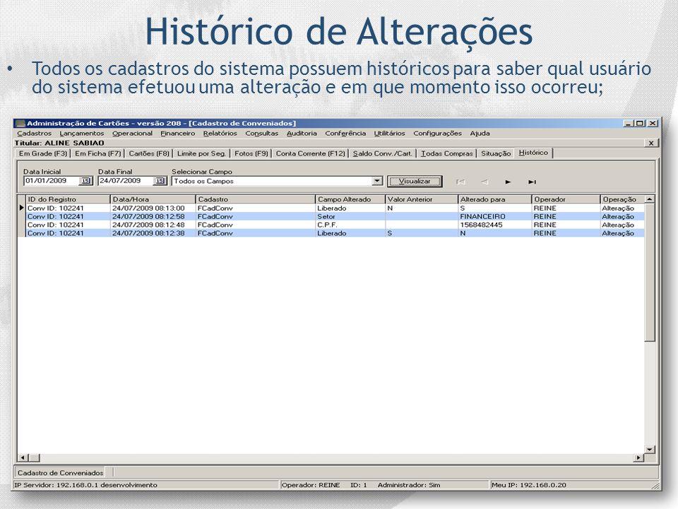Histórico de Alterações Todos os cadastros do sistema possuem históricos para saber qual usuário do sistema efetuou uma alteração e em que momento iss