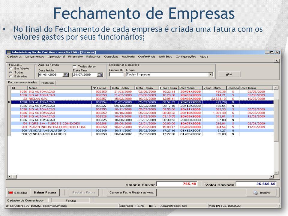 Fechamento de Empresas No final do Fechamento de cada empresa é criada uma fatura com os valores gastos por seus funcionários;