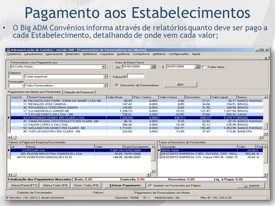 Pagamento aos Estabelecimentos O Big ADM Convênios informa através de relatórios quanto deve ser pago a cada Estabelecimento, detalhando de onde vem c