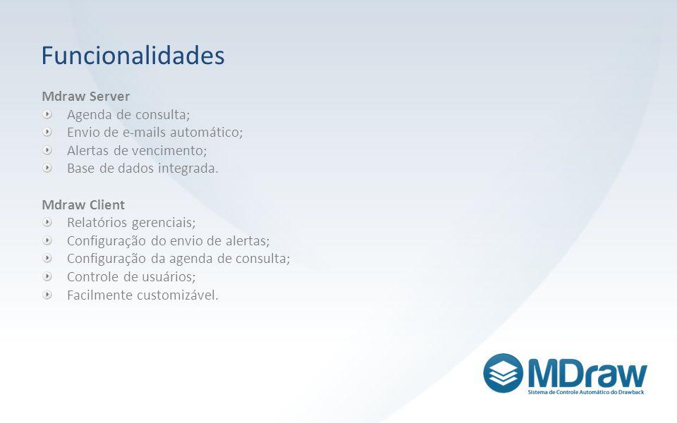 Funcionalidades Mdraw Server Agenda de consulta; Envio de e-mails automático; Alertas de vencimento; Base de dados integrada. Mdraw Client Relatórios