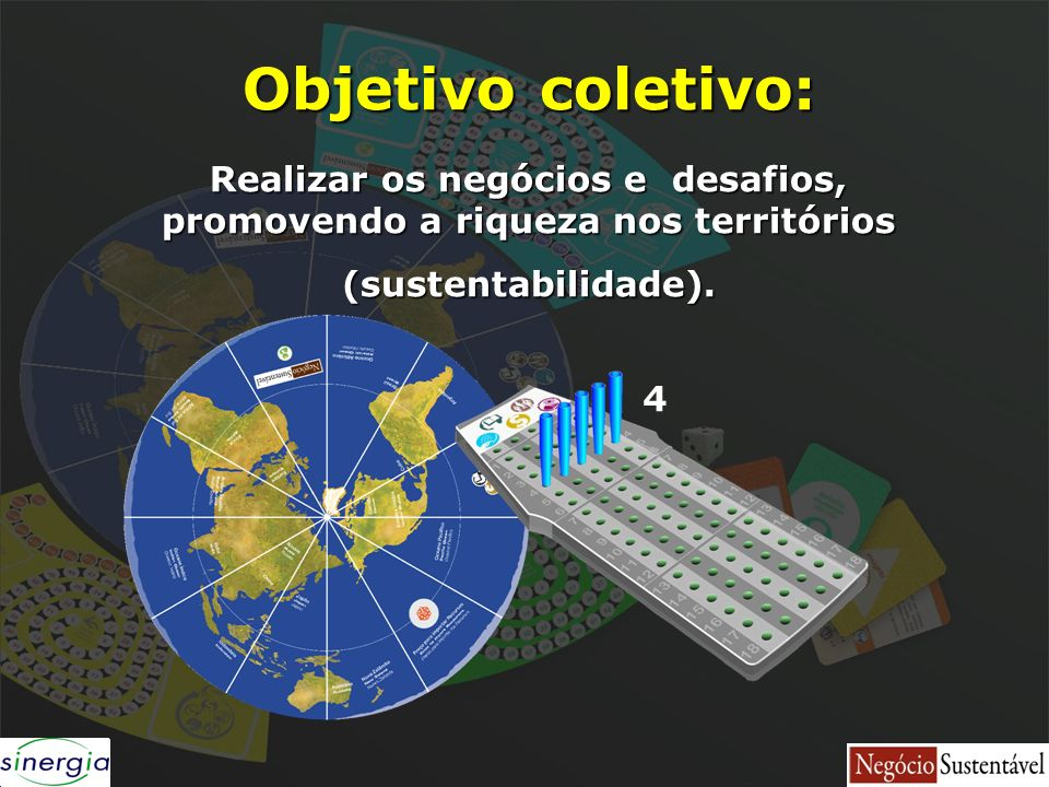 Objetivo coletivo: Realizar os negócios e desafios, promovendo a riqueza nos territórios (sustentabilidade). 4