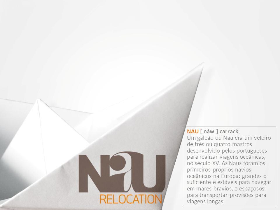 NAU [ náw ] carrack; Um galeão ou Nau era um veleiro de três ou quatro mastros desenvolvido pelos portugueses para realizar viagens oceânicas, no sécu