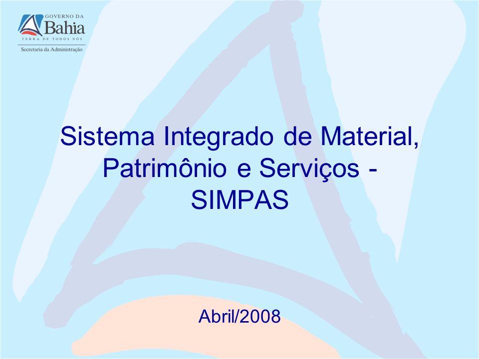 Decreto N.º 7.919 de 30 de março de 2001 Institui o SIMPAS com a finalidade de gerenciar os processo de aquisição, catalogação, distribuição e controle de materiais, bens patrimoniais e serviços da Administração Pública Estadual.