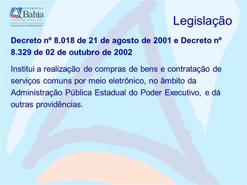 Legislação Decreto nº 8.018 de 21 de agosto de 2001 e Decreto nº 8.329 de 02 de outubro de 2002 Institui a realização de compras de bens e contratação