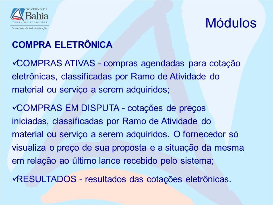 Módulos COMPRA ELETRÔNICA COMPRAS ATIVAS - compras agendadas para cotação eletrônicas, classificadas por Ramo de Atividade do material ou serviço a se
