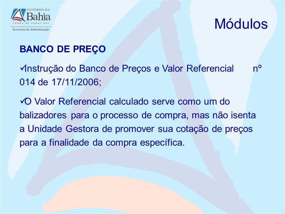 BANCO DE PREÇO Instrução do Banco de Preços e Valor Referencial nº 014 de 17/11/2006; O Valor Referencial calculado serve como um do balizadores para