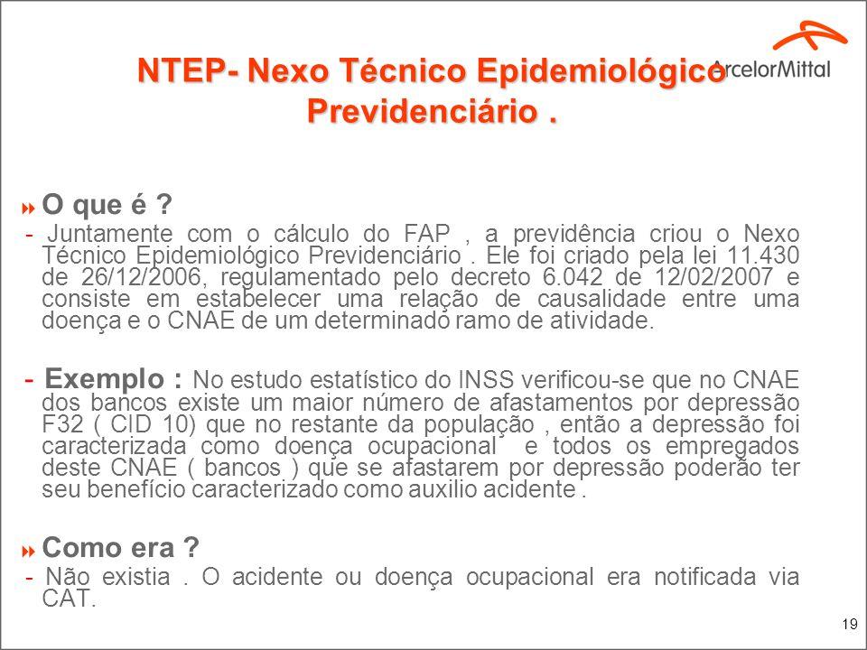 19 NTEP- Nexo Técnico Epidemiológico Previdenciário. O que é ? - Juntamente com o cálculo do FAP, a previdência criou o Nexo Técnico Epidemiológico Pr
