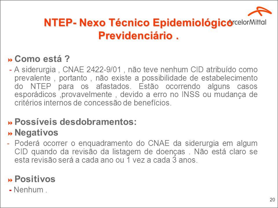 20 NTEP- Nexo Técnico Epidemiológico Previdenciário. Como está ? - A siderurgia, CNAE 2422-9/01, não teve nenhum CID atribuído como prevalente, portan