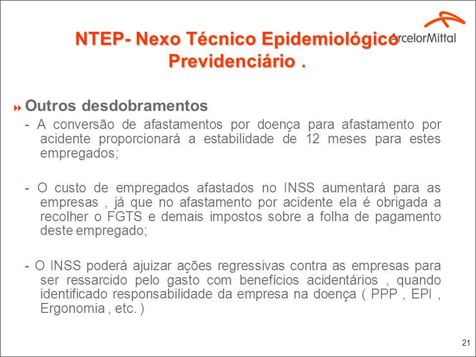 21 NTEP- Nexo Técnico Epidemiológico Previdenciário. Outros desdobramentos - A conversão de afastamentos por doença para afastamento por acidente prop