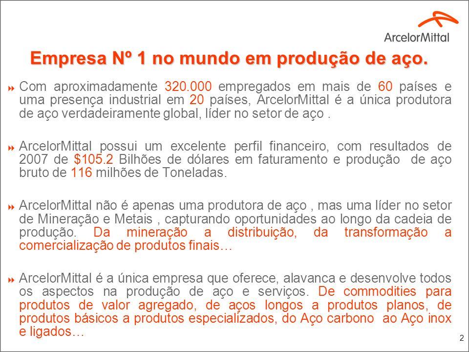 2 Empresa Nº 1 no mundo em produção de aço. Com aproximadamente 320.000 empregados em mais de 60 países e uma presença industrial em 20 países, Arcelo