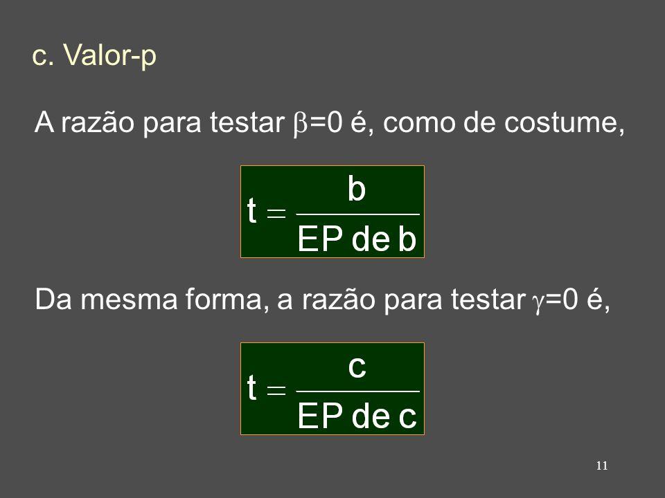 11 c. Valor-p A razão para testar =0 é, como de costume, Da mesma forma, a razão para testar =0 é,