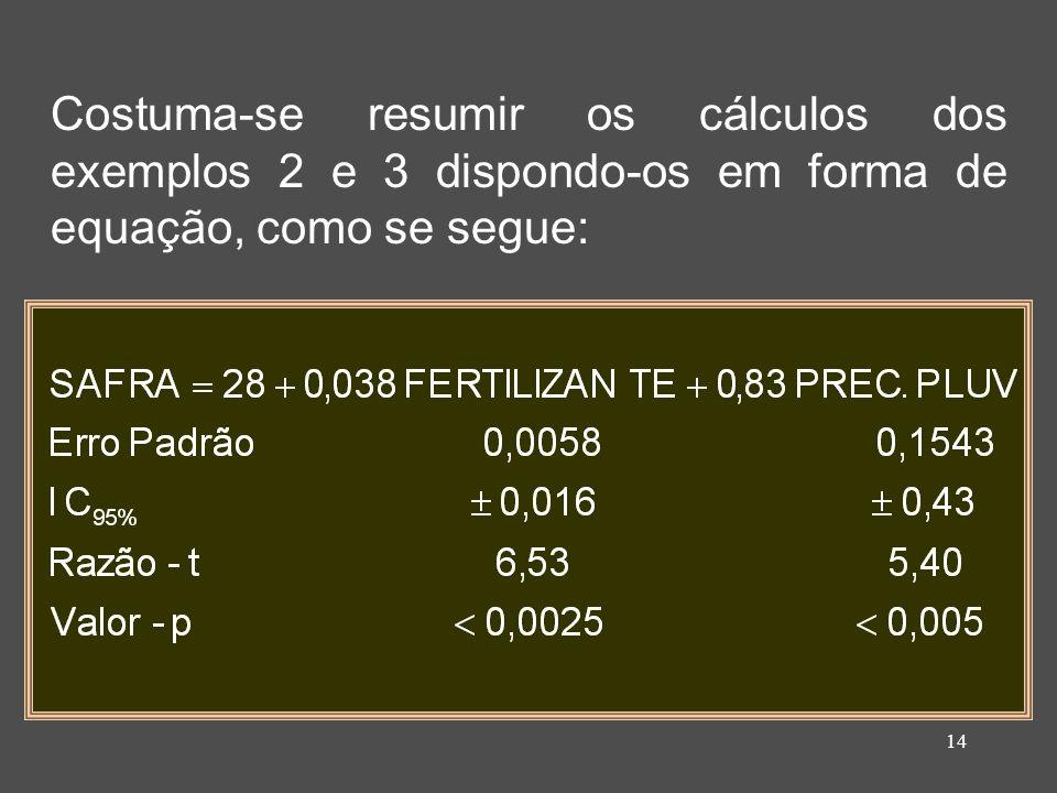 14 Costuma-se resumir os cálculos dos exemplos 2 e 3 dispondo-os em forma de equação, como se segue: