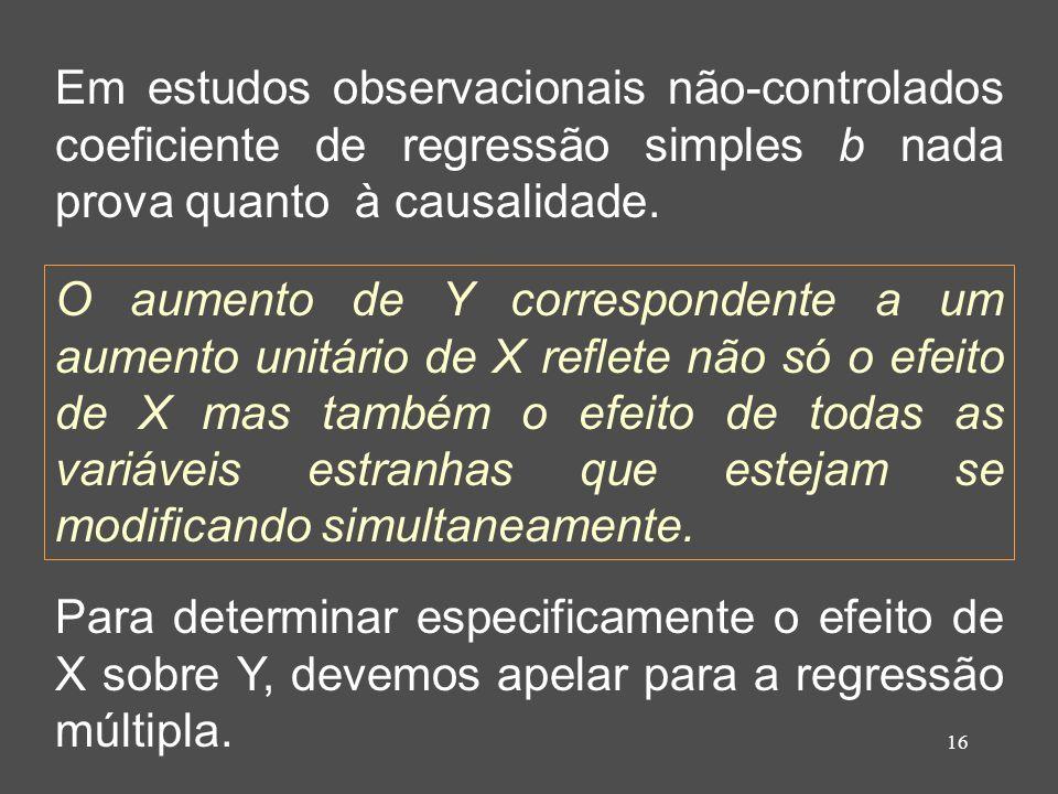 16 Em estudos observacionais não-controlados coeficiente de regressão simples b nada prova quanto à causalidade.