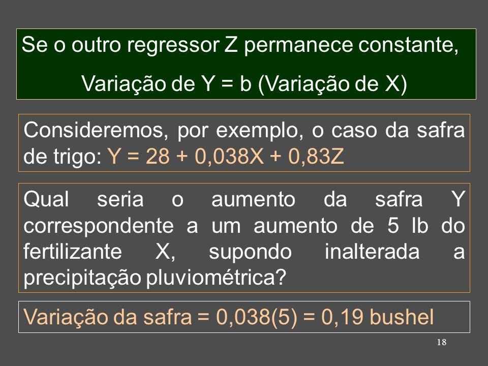 18 Se o outro regressor Z permanece constante, Variação de Y = b (Variação de X) Qual seria o aumento da safra Y correspondente a um aumento de 5 lb do fertilizante X, supondo inalterada a precipitação pluviométrica.
