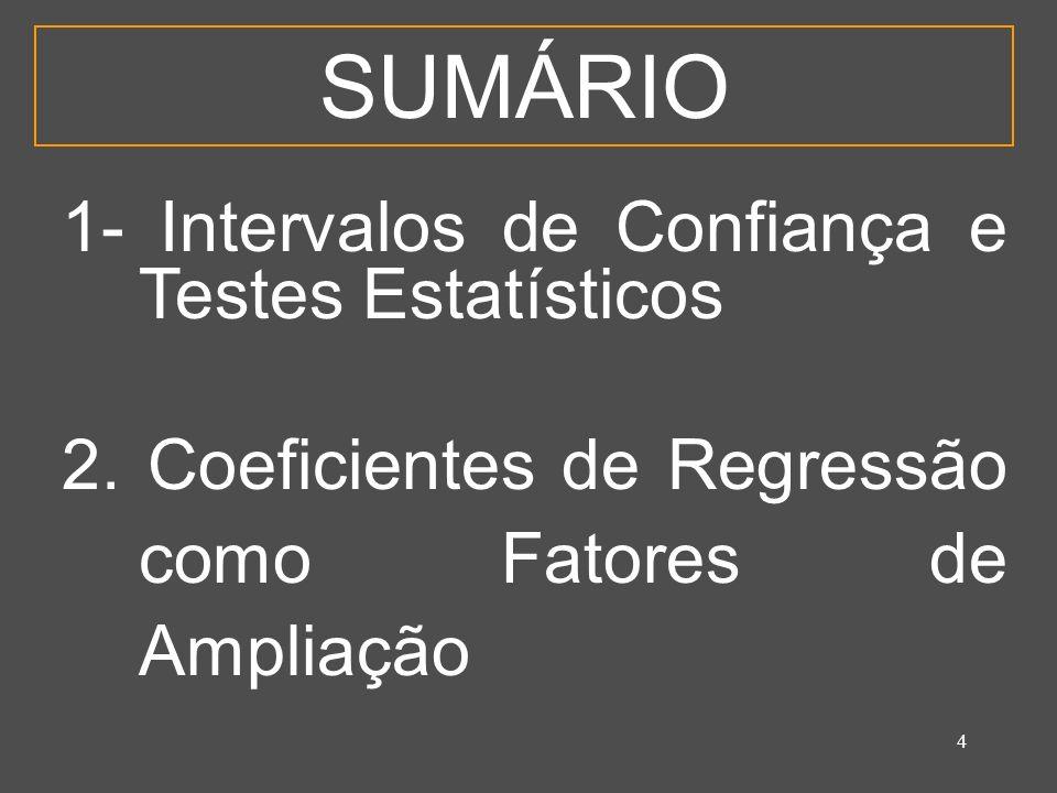 4 SUMÁRIO 1- Intervalos de Confiança e Testes Estatísticos 2.