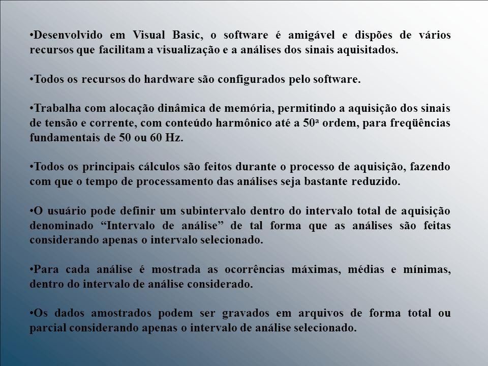 Desenvolvido em Visual Basic, o software é amigável e dispões de vários recursos que facilitam a visualização e a análises dos sinais aquisitados. Tod