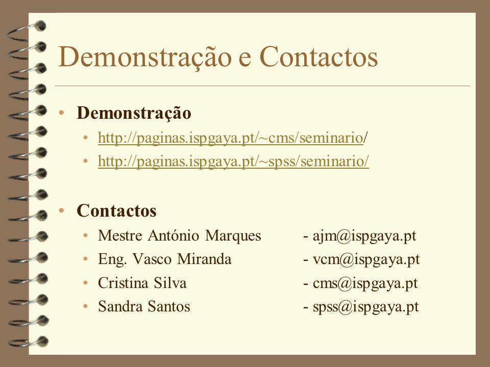 Demonstração e Contactos Demonstração http://paginas.ispgaya.pt/~cms/seminario/http://paginas.ispgaya.pt/~cms/seminario http://paginas.ispgaya.pt/~sps
