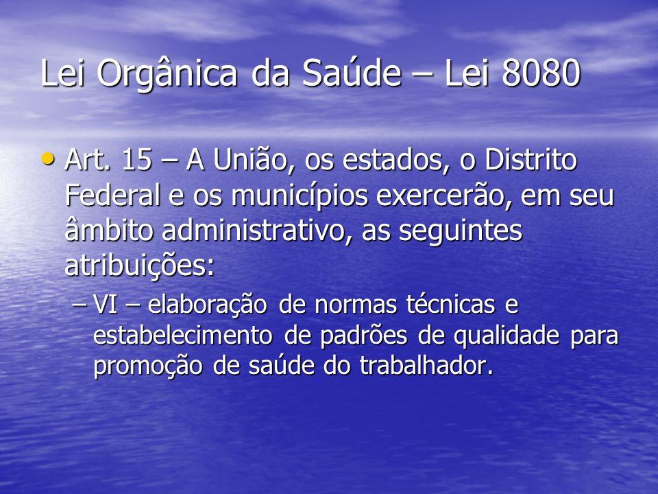 Lei Orgânica da Saúde – Lei 8080 Art. 15 – A União, os estados, o Distrito Federal e os municípios exercerão, em seu âmbito administrativo, as seguint