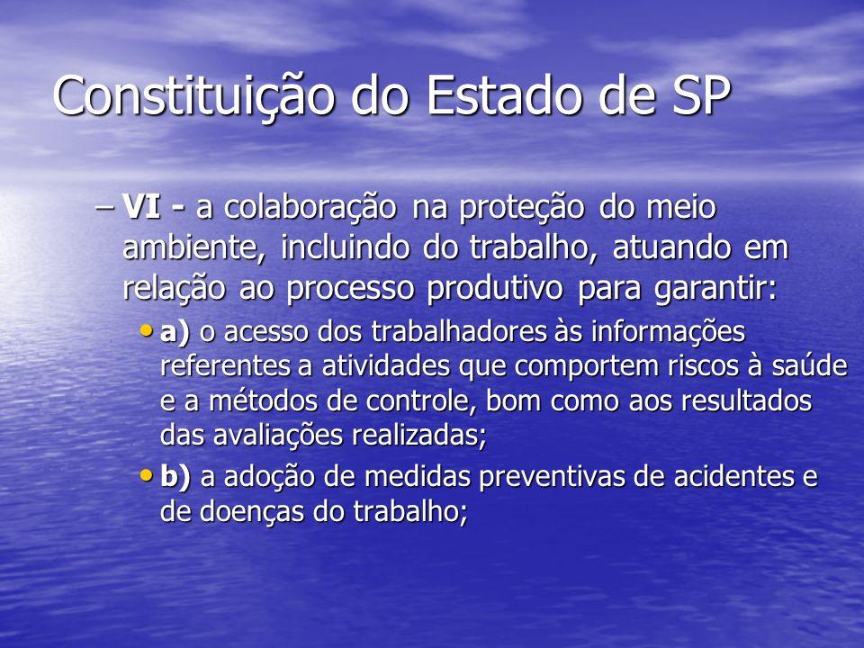 Constituição do Estado de SP –VI - a colaboração na proteção do meio ambiente, incluindo do trabalho, atuando em relação ao processo produtivo para ga