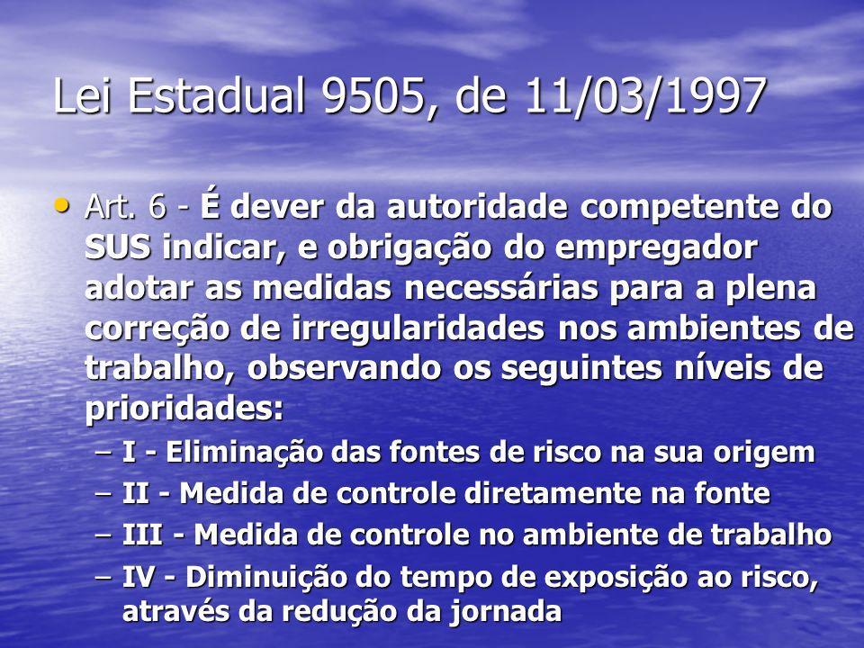 Lei Estadual 9505, de 11/03/1997 Art. 6 - É dever da autoridade competente do SUS indicar, e obrigação do empregador adotar as medidas necessárias par