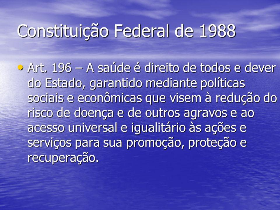 Constituição Federal de 1988 Art. 196 – A saúde é direito de todos e dever do Estado, garantido mediante políticas sociais e econômicas que visem à re