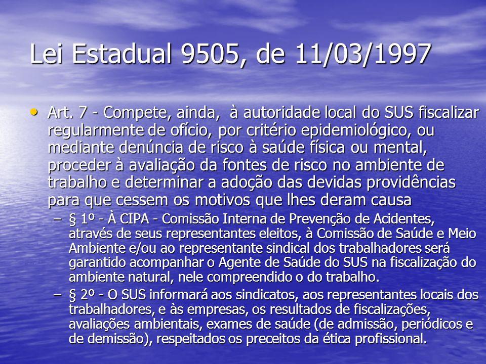 Lei Estadual 9505, de 11/03/1997 Art. 7 - Compete, ainda, à autoridade local do SUS fiscalizar regularmente de ofício, por critério epidemiológico, ou