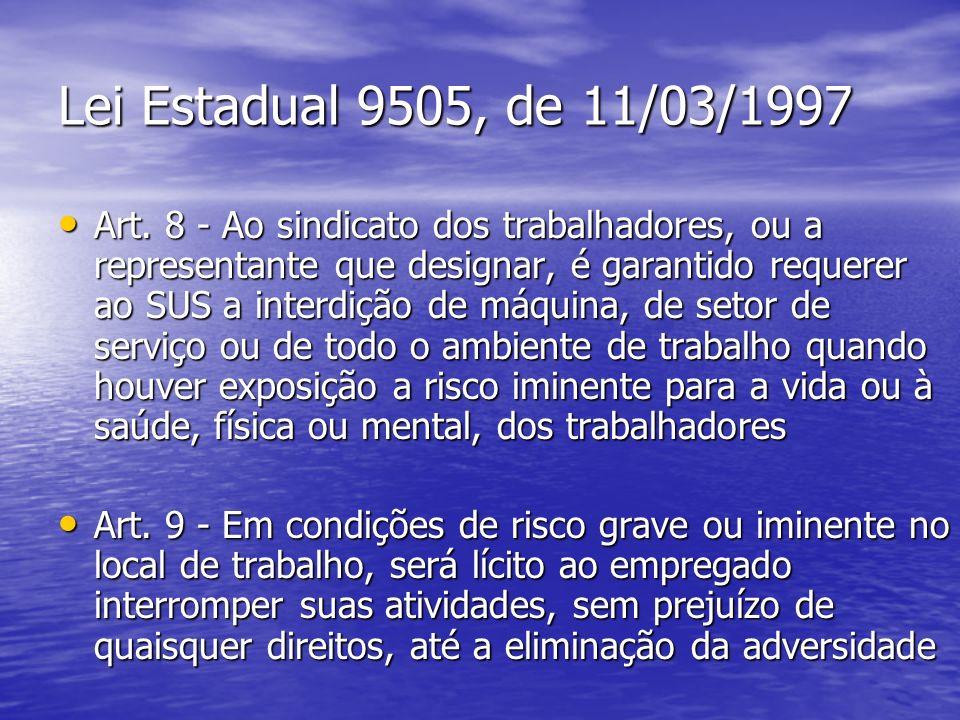 Lei Estadual 9505, de 11/03/1997 Art. 8 - Ao sindicato dos trabalhadores, ou a representante que designar, é garantido requerer ao SUS a interdição de