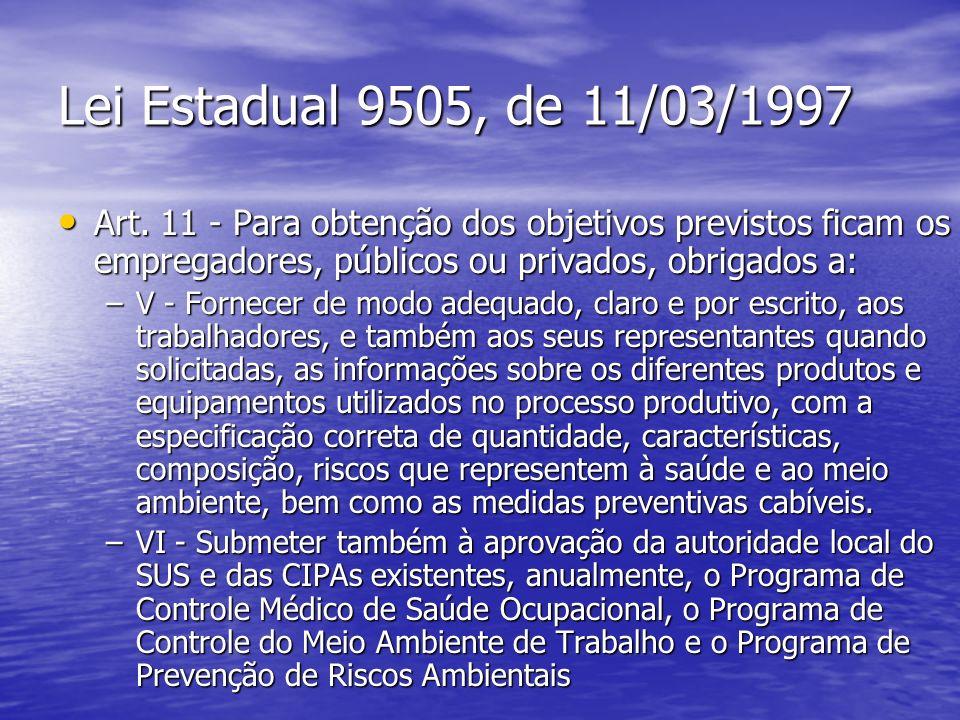 Lei Estadual 9505, de 11/03/1997 Art. 11 - Para obtenção dos objetivos previstos ficam os empregadores, públicos ou privados, obrigados a: Art. 11 - P